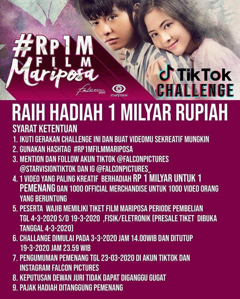 """Tik Tok Challenge Film """"Mariposa"""" Berhadiah Rp 1 Miliar"""