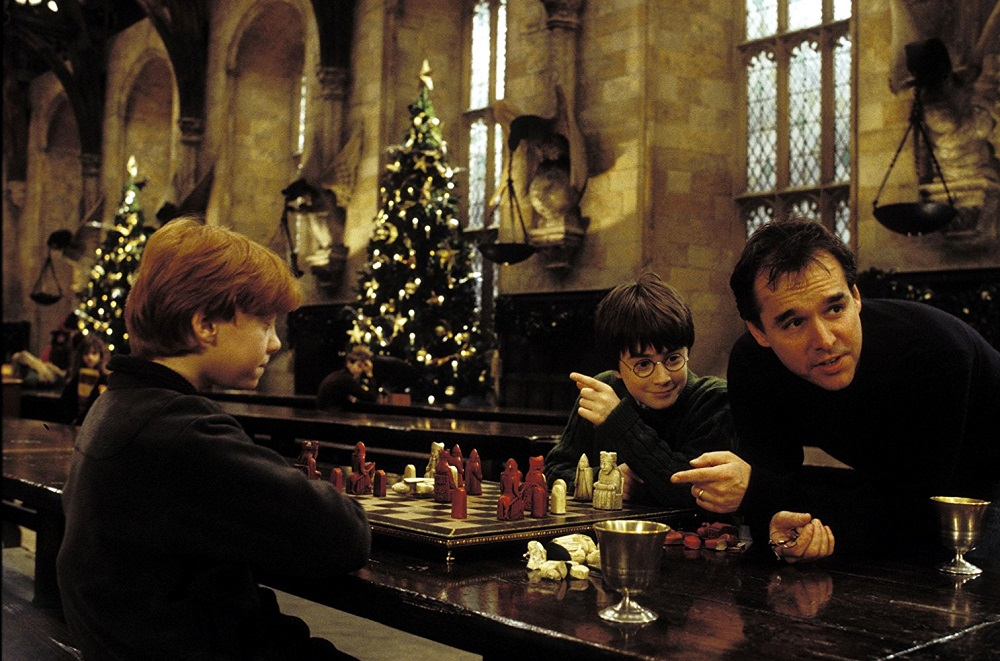 Chris Columbus saat syuting Harry Potter and the Chamber of Secrets