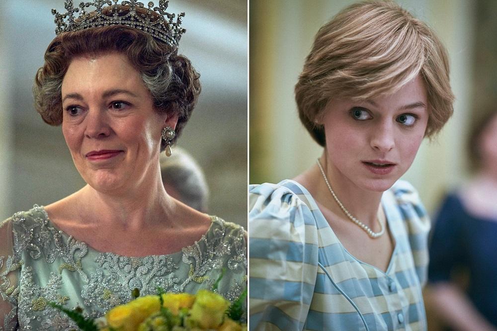 Olivia Colman dan Emma Corrin dalam The Crown
